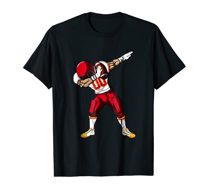 Football Dabbing T Shirt Funny Red Yellow