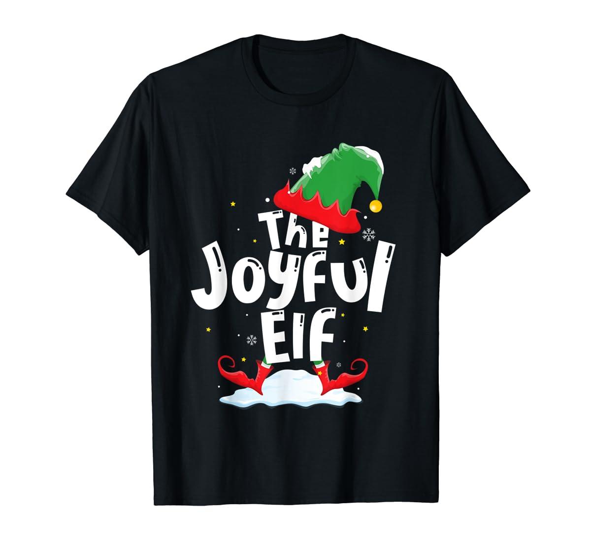 The Joyful Elf Group Matching Family Christmas Gifts Holiday T-Shirt-Men's T-Shirt-Black