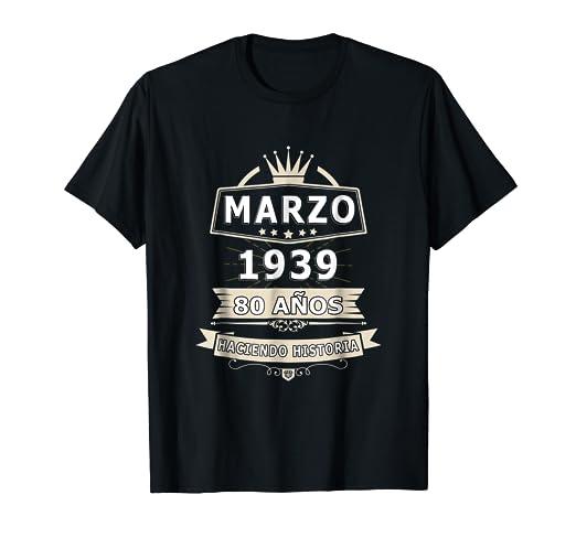 Amazon.com: Playera Cumpleanos 80 Nacio en Marzo 1939 ...