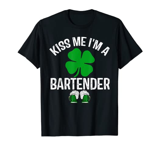 e903e4188f Image Unavailable. Image not available for. Color: Kiss Me I'm a Bartender T -Shirt drink St. Patrick's Day Gift
