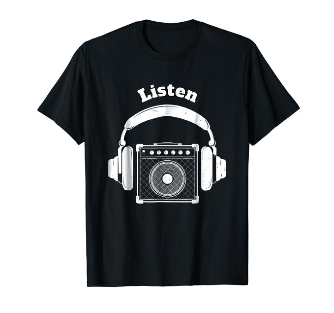 Listen headphones and guitar amp speaker graphic Tee Shirt