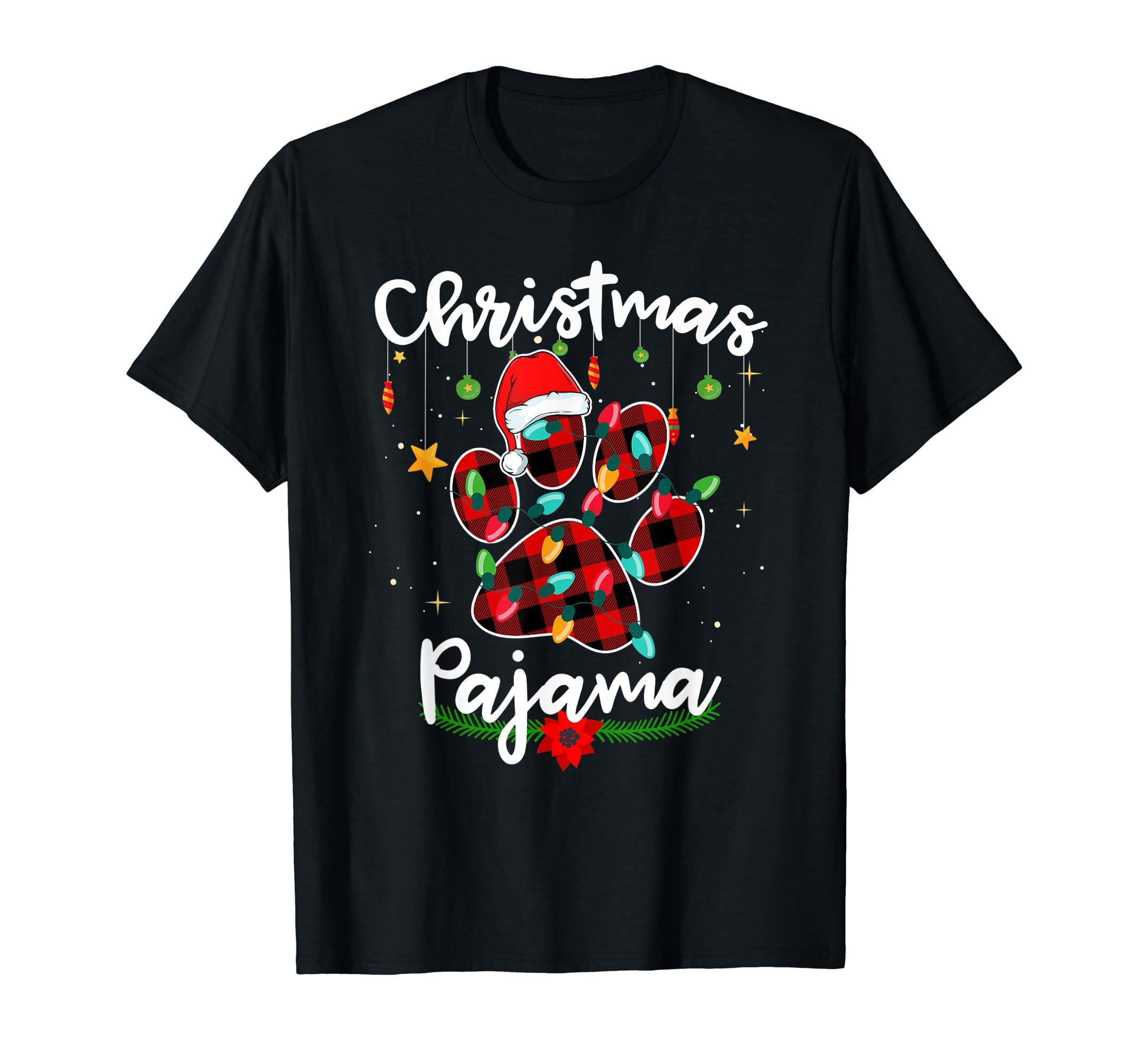 Christmas Pajamas Buffalo Plaid Santa Dog Lover T Shirt-Men's T-Shirt-Black