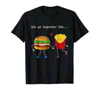 bd7c8420f1 Image Unavailable. Image not available for. Color: Burger and Fries Love Couple  Best Friends BFF Couples Shirt