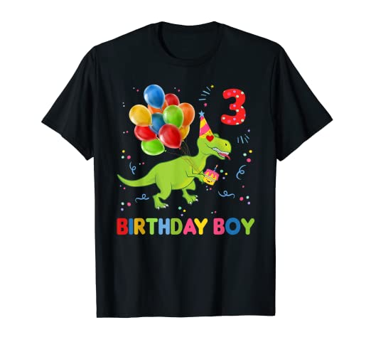 Amazon Com Funny Kids Dinosaur 3 Years Old Birthday Boy Shirt For