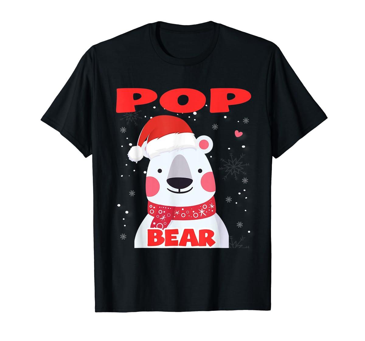 Pop Bear Christmas Grandpa Santa T-Shirt-Men's T-Shirt-Black