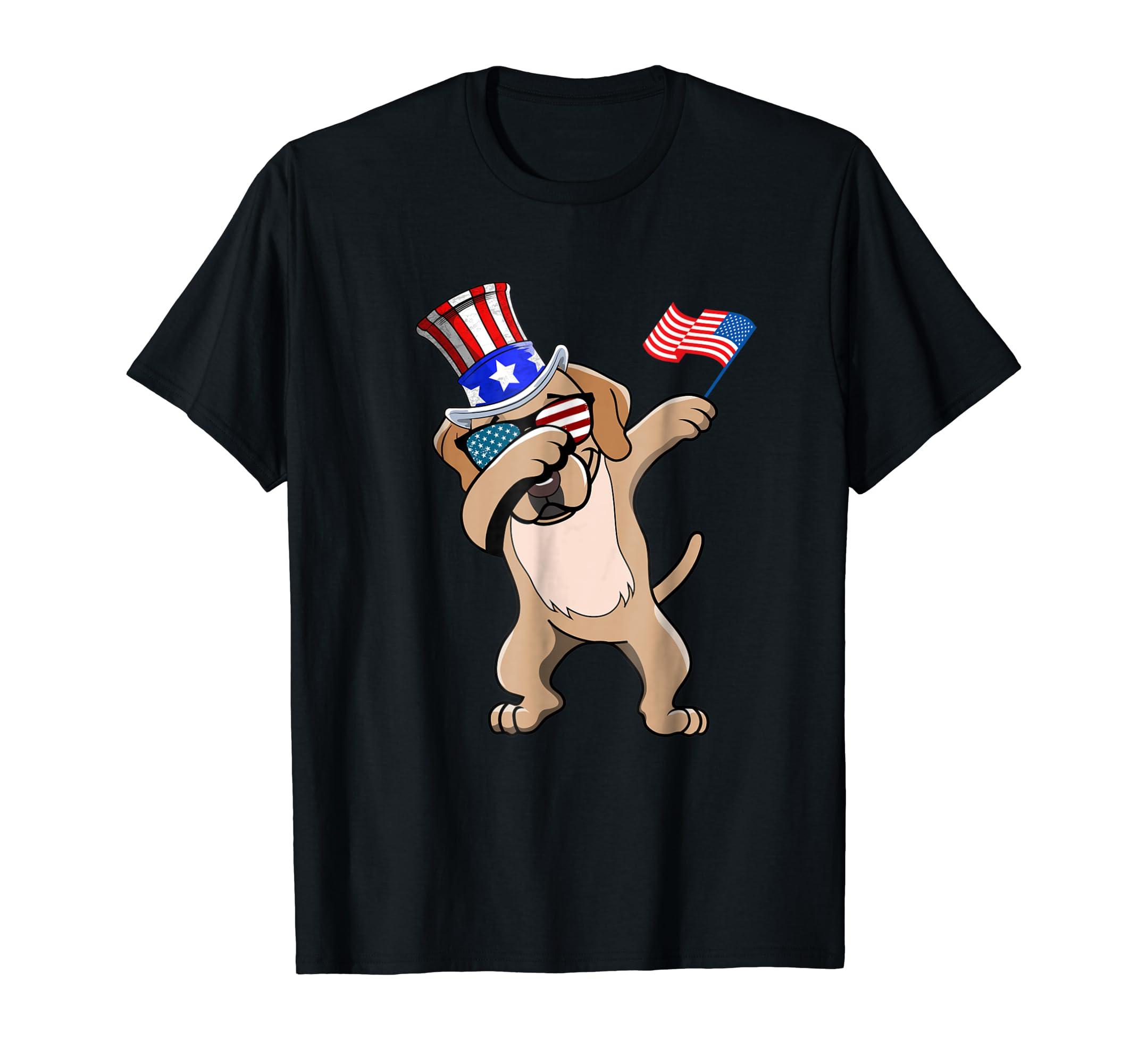 Labrador Retriever Dabbing Dog Dad 4th of July Shirt-AZP