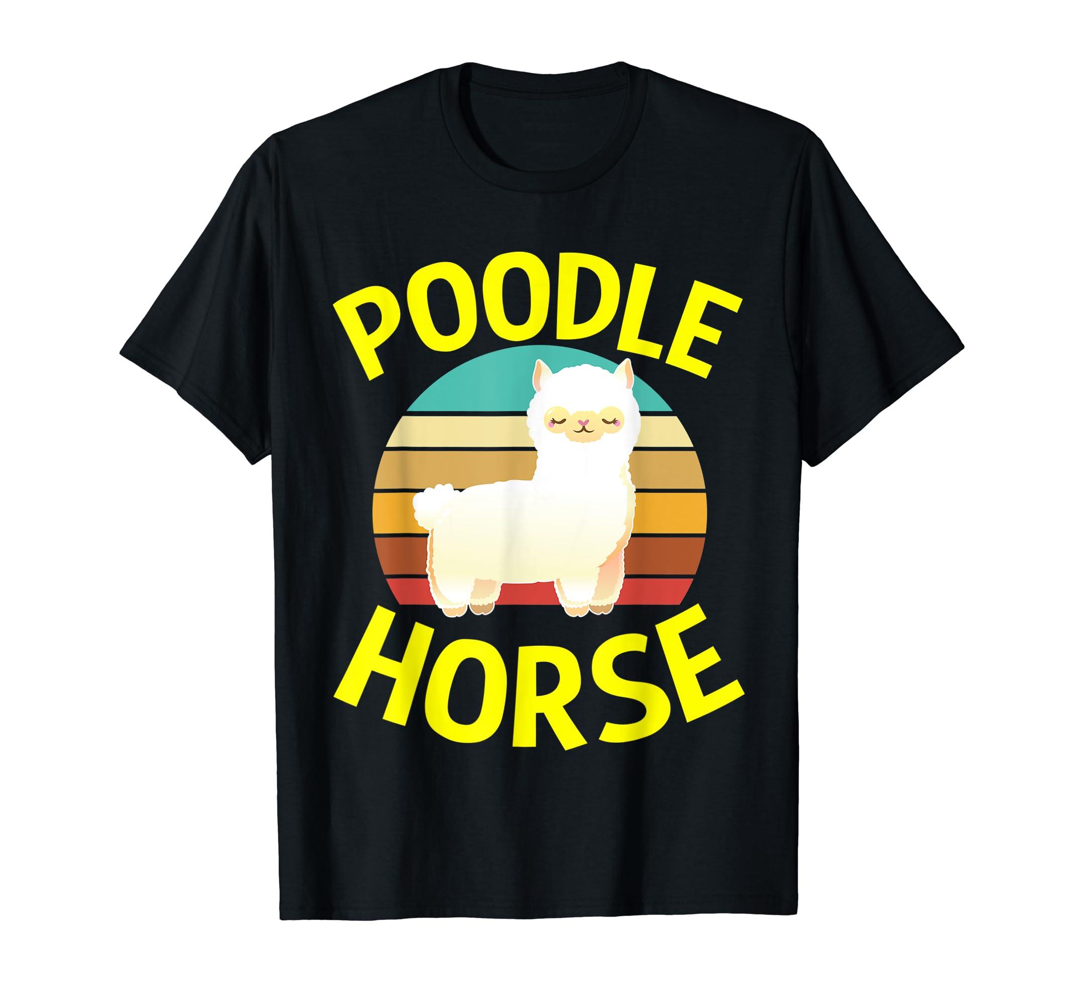 Poodle Horse T Shirt Llama Gifts for Men Women Kids Baby-Men's T-Shirt-Black