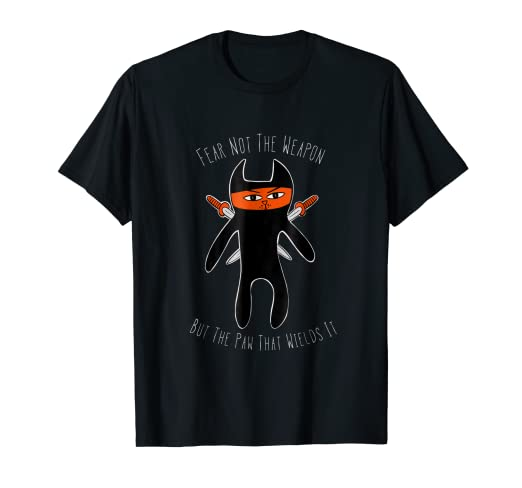Amazon.com: Funny Cat Ninja T Shirt Fighting Feline Tee ...