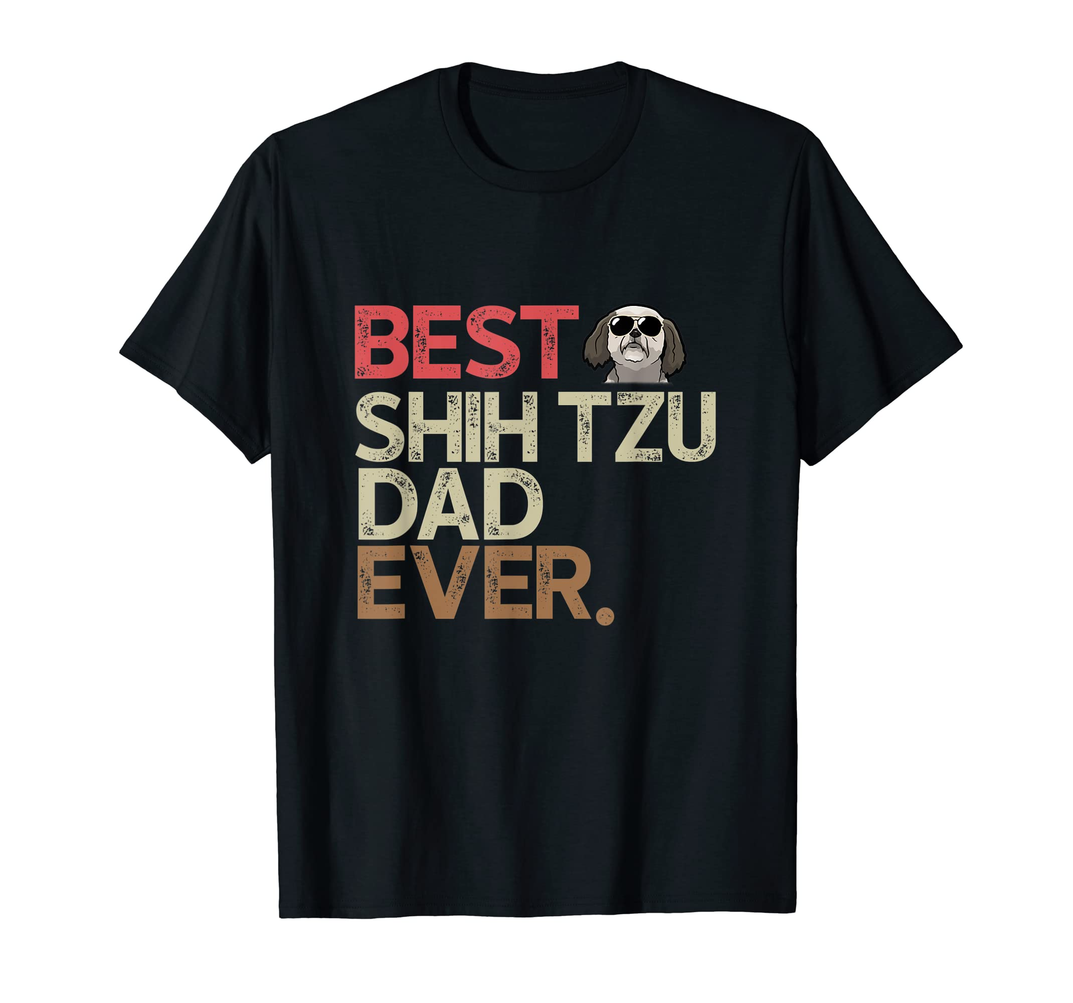 Funny Best Shih Tzu Dad Ever T-shirt Gift For Father's Day-Men's T-Shirt-Black