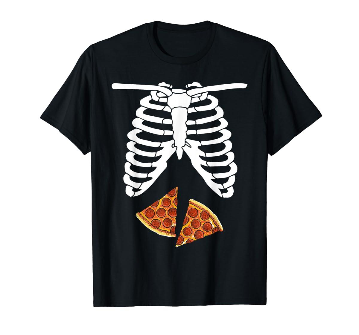 Halloween Skeleton Xray Pizza Slices Costume Rib Cage Easy T-Shirt-Men's T-Shirt-Black