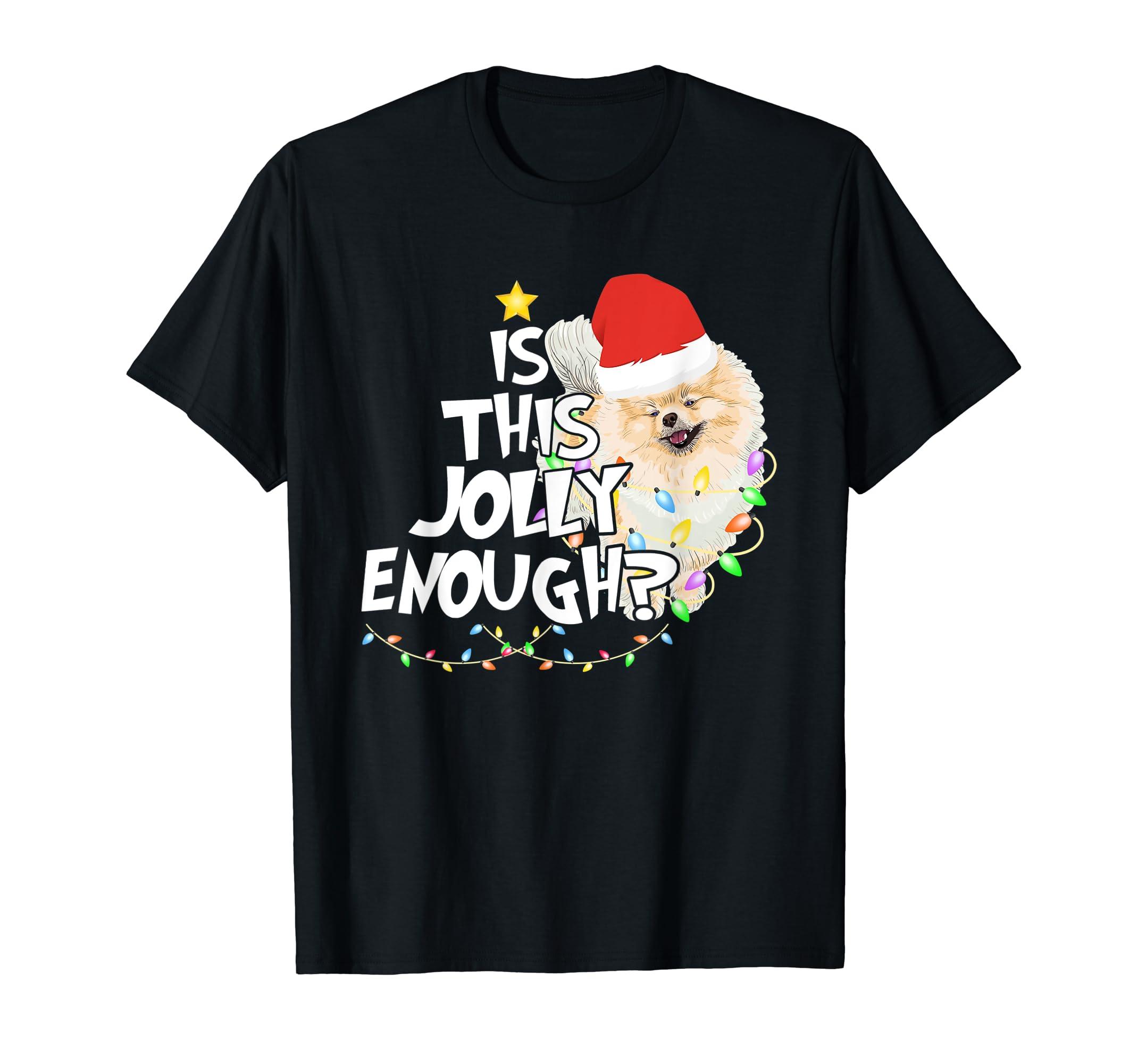 Funny Christmas Is This Jolly Enough Pomeranian T-Shirt-Men's T-Shirt-Black