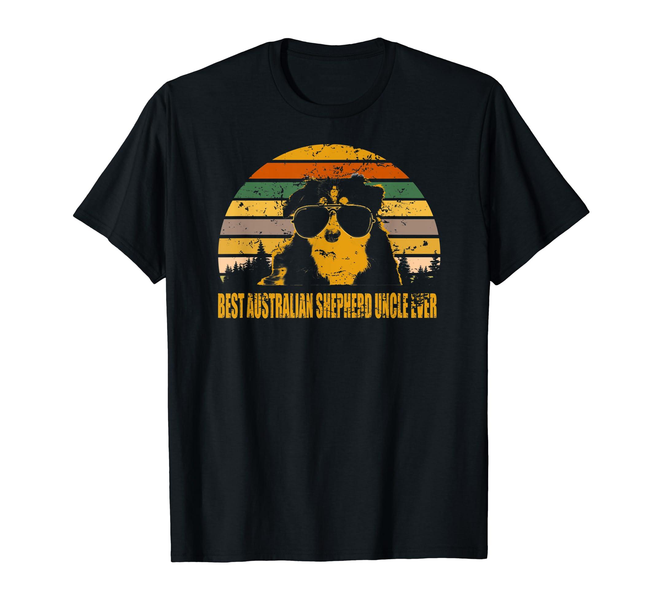 Australian Shepherd Best Australian Shepherd Uncle Ever  T-Shirt-Men's T-Shirt-Black
