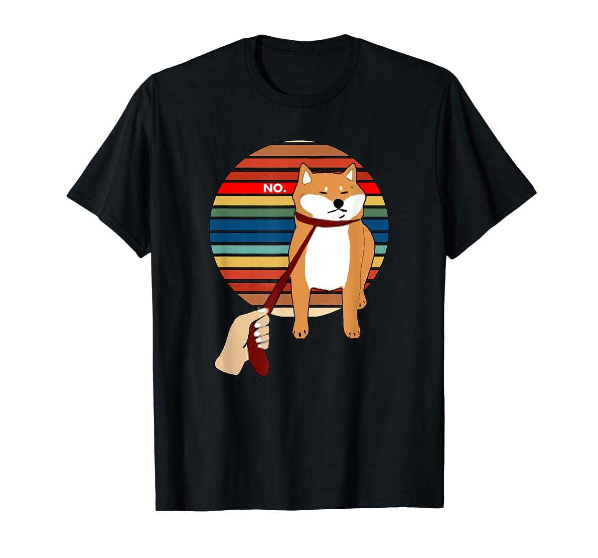 Cute Vintage Retro Shiba Inu Nope Dog Tee Shirt-Men's T-Shirt-Black