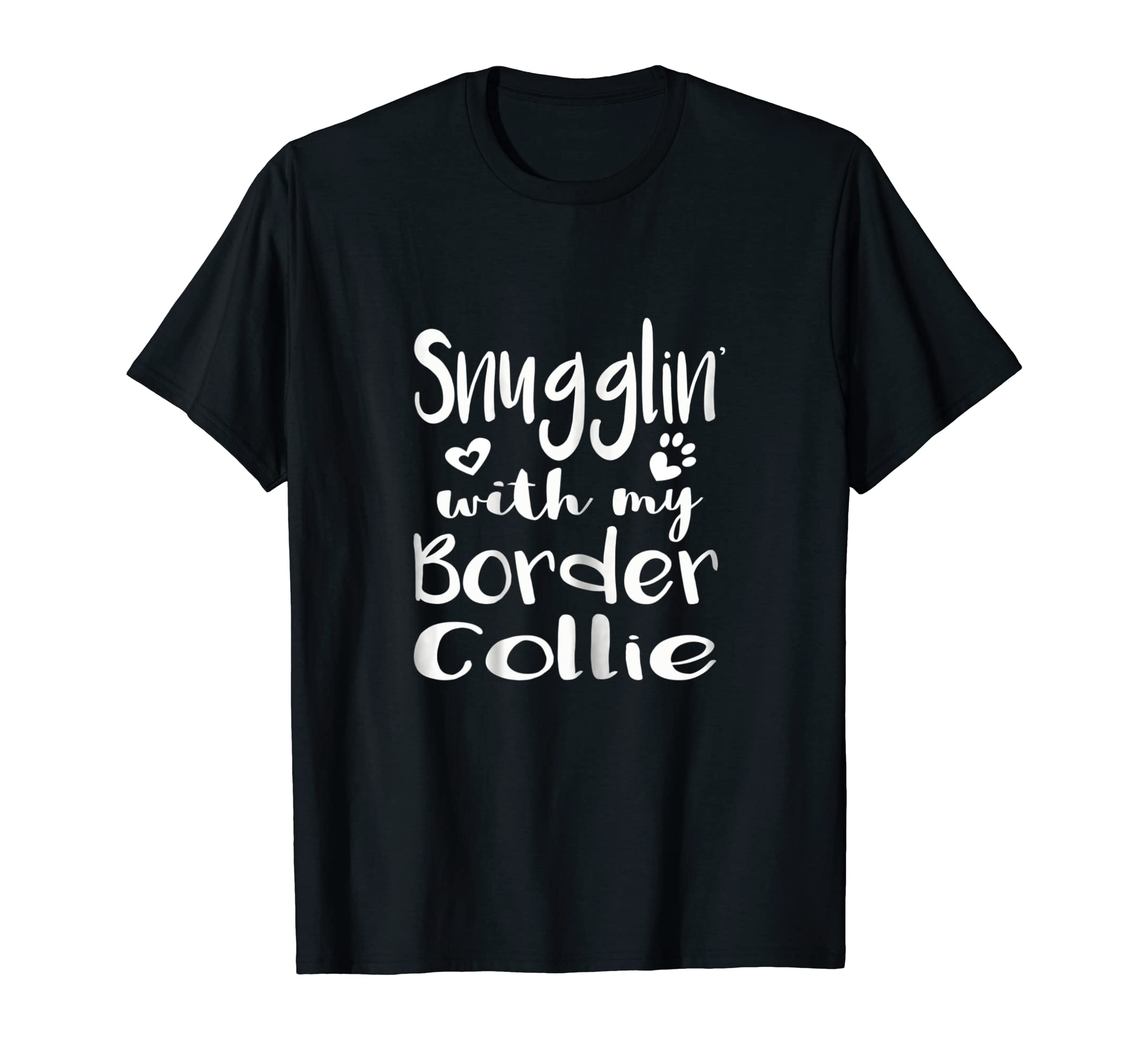 Snuggling with my Border Collie Shirt - Dog Mom pajamas-Men's T-Shirt-Black