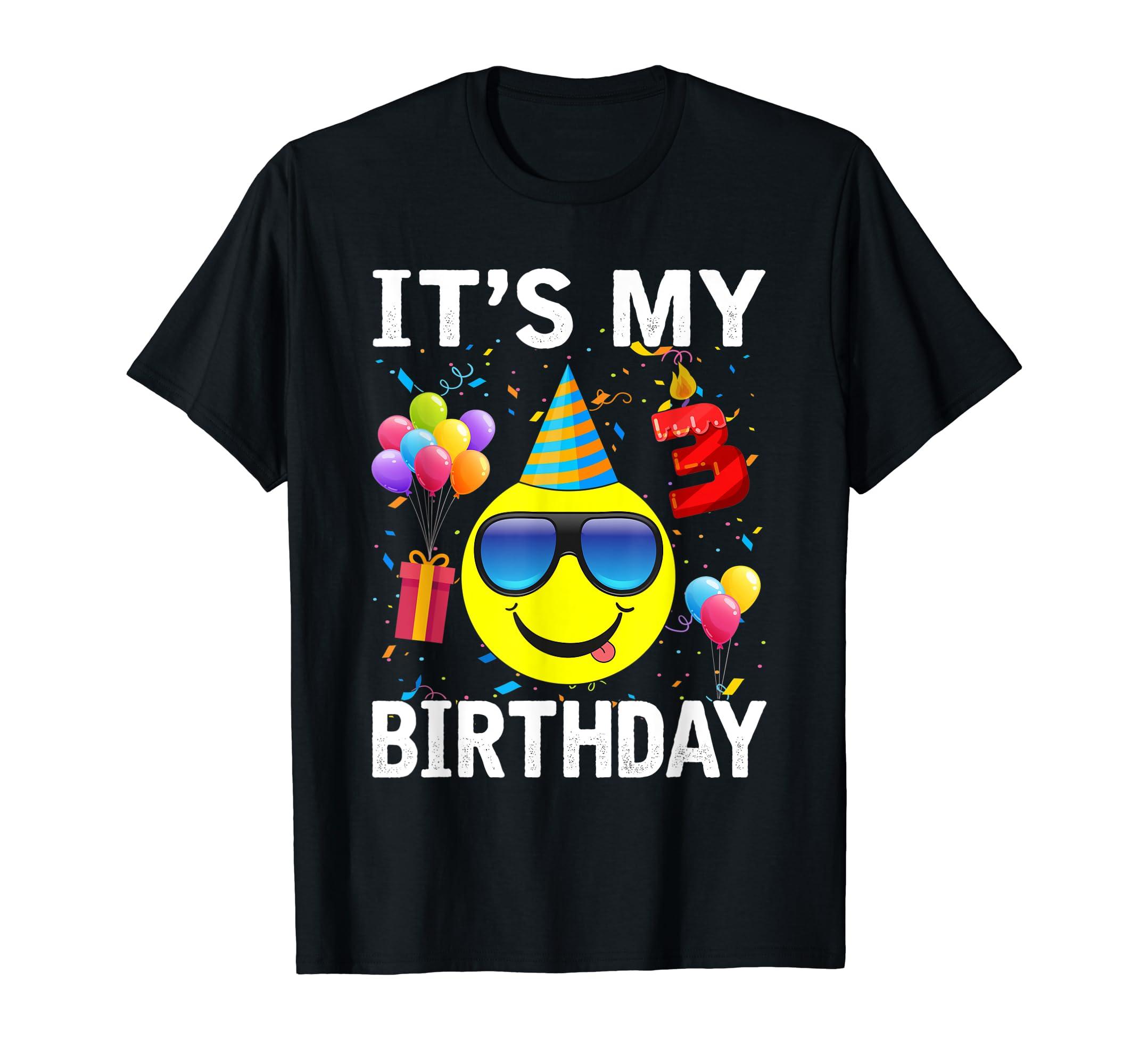 Amazon Funny Kids Emoji Its My 3rd Birthday Cute Shirts Gifts Clothing