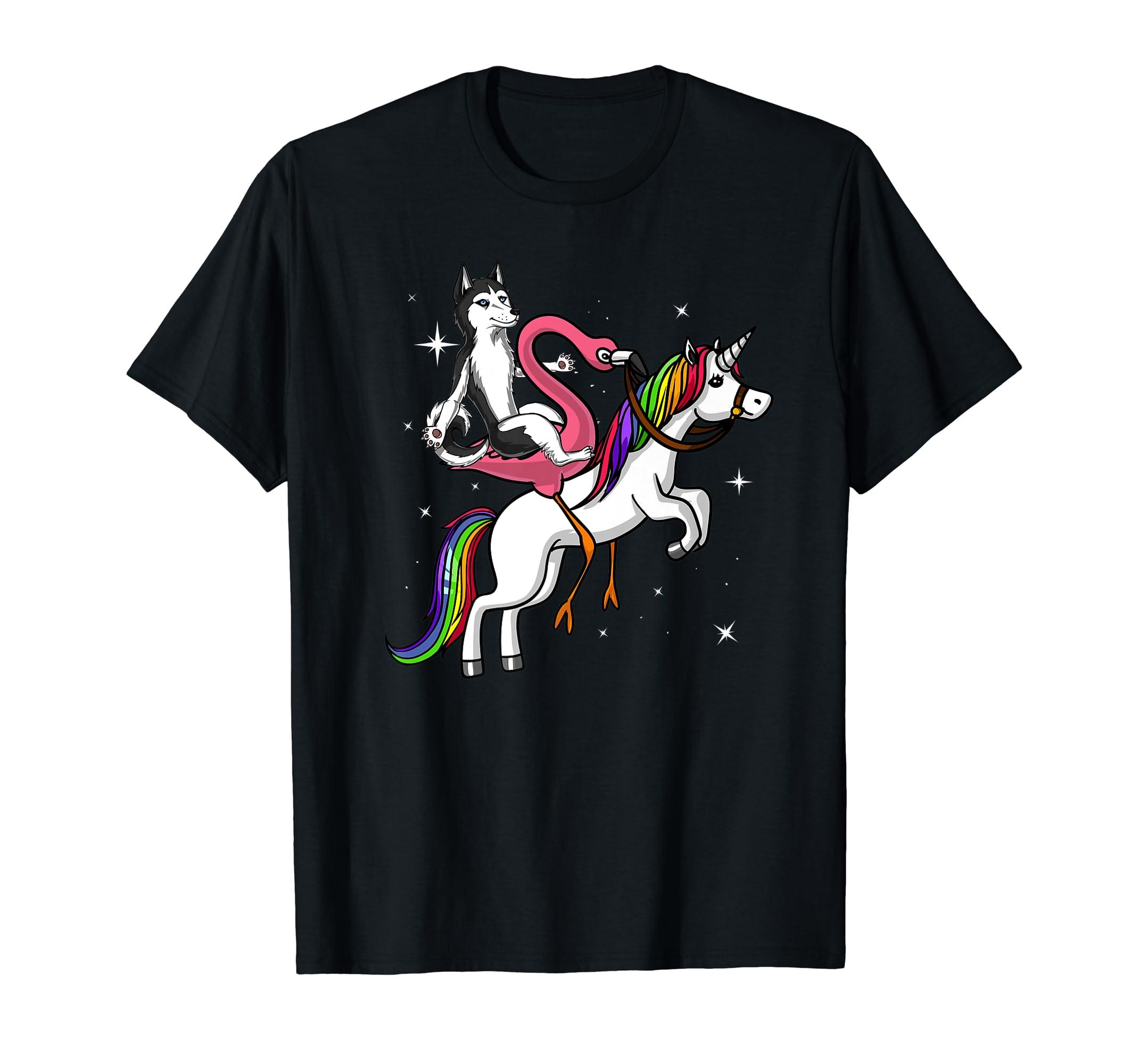 Siberian Husky Flamingo Bird Riding Unicorn Rainbow Kids Premium T-Shirt-Men's T-Shirt-Black