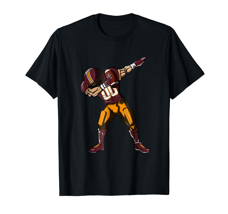 Football Dabbing T Shirt Funny Burgundy Gold