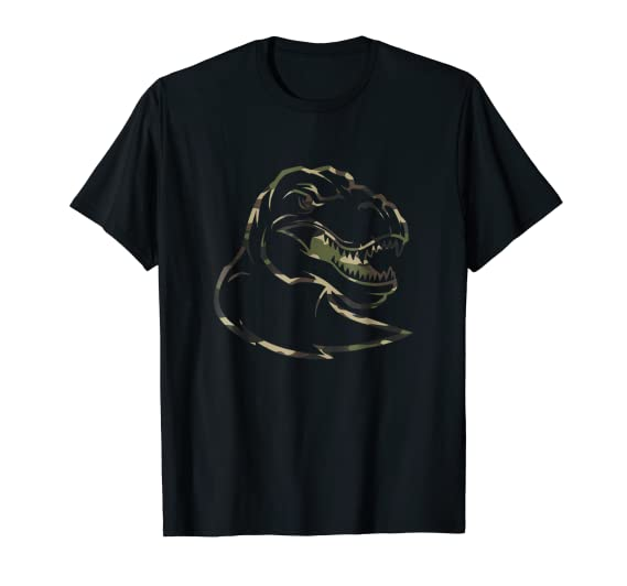 Scary Angry T-Rex Camouflage dinosaur head graphic Tee Shirt
