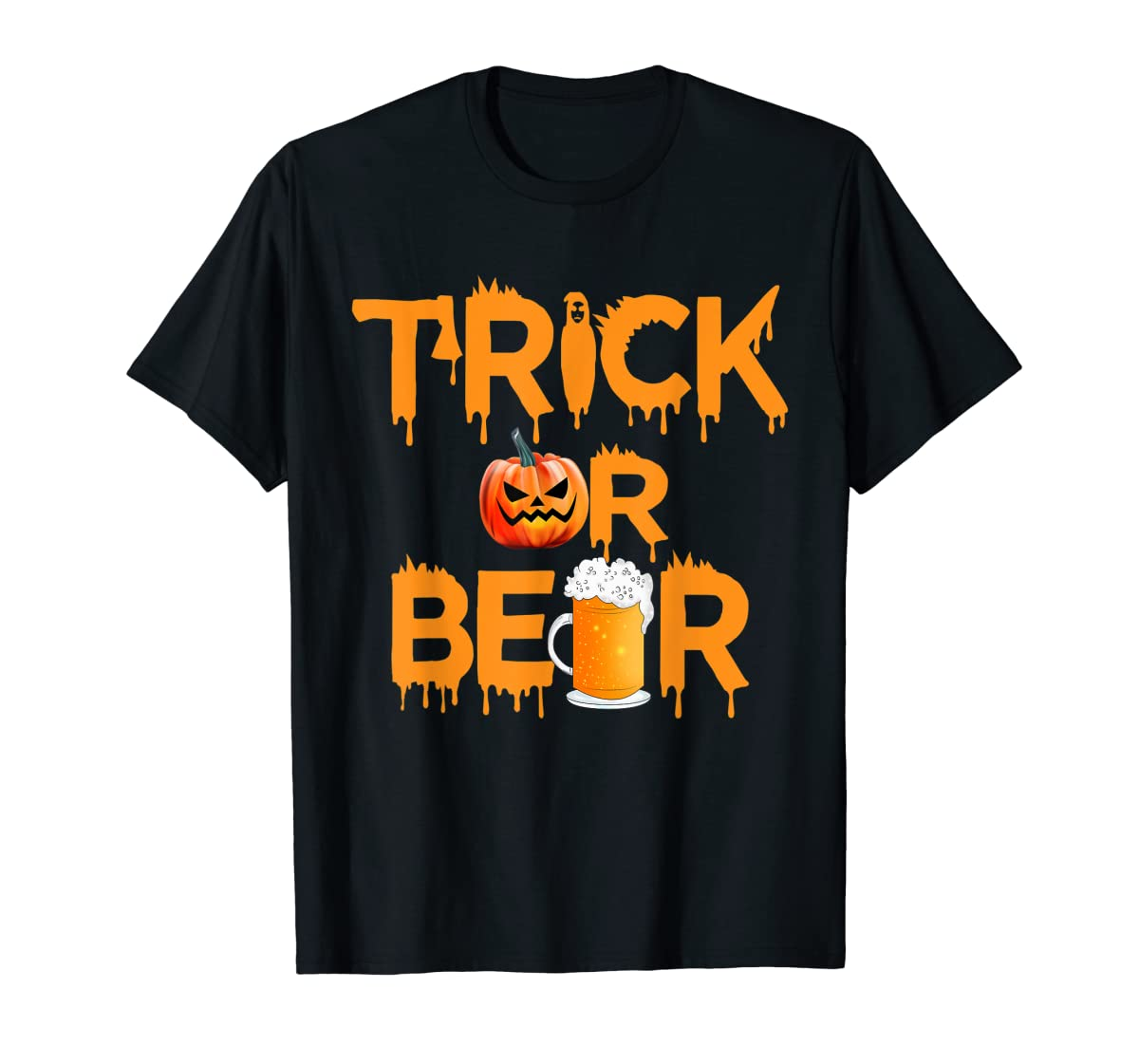Halloween Costume Trick or Beer Drinking T Shirt Pumpkin Men T-Shirt-Men's T-Shirt-Black