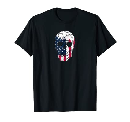 Distressed Skull with USA American flag tee shirt