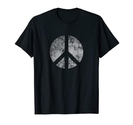 d7b9af26a397 Image Unavailable. Image not available for. Color: Peace Symbol Retro  Inverse Distressed Hippie 1960's T Shirt