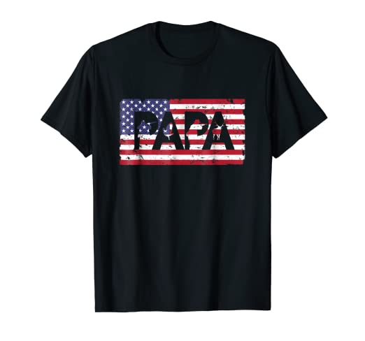 6d8fcf97b Image Unavailable. Image not available for. Color: USA Flag Hunter Dad  Shirt Funny Papa Hunting Fathers Day Tee