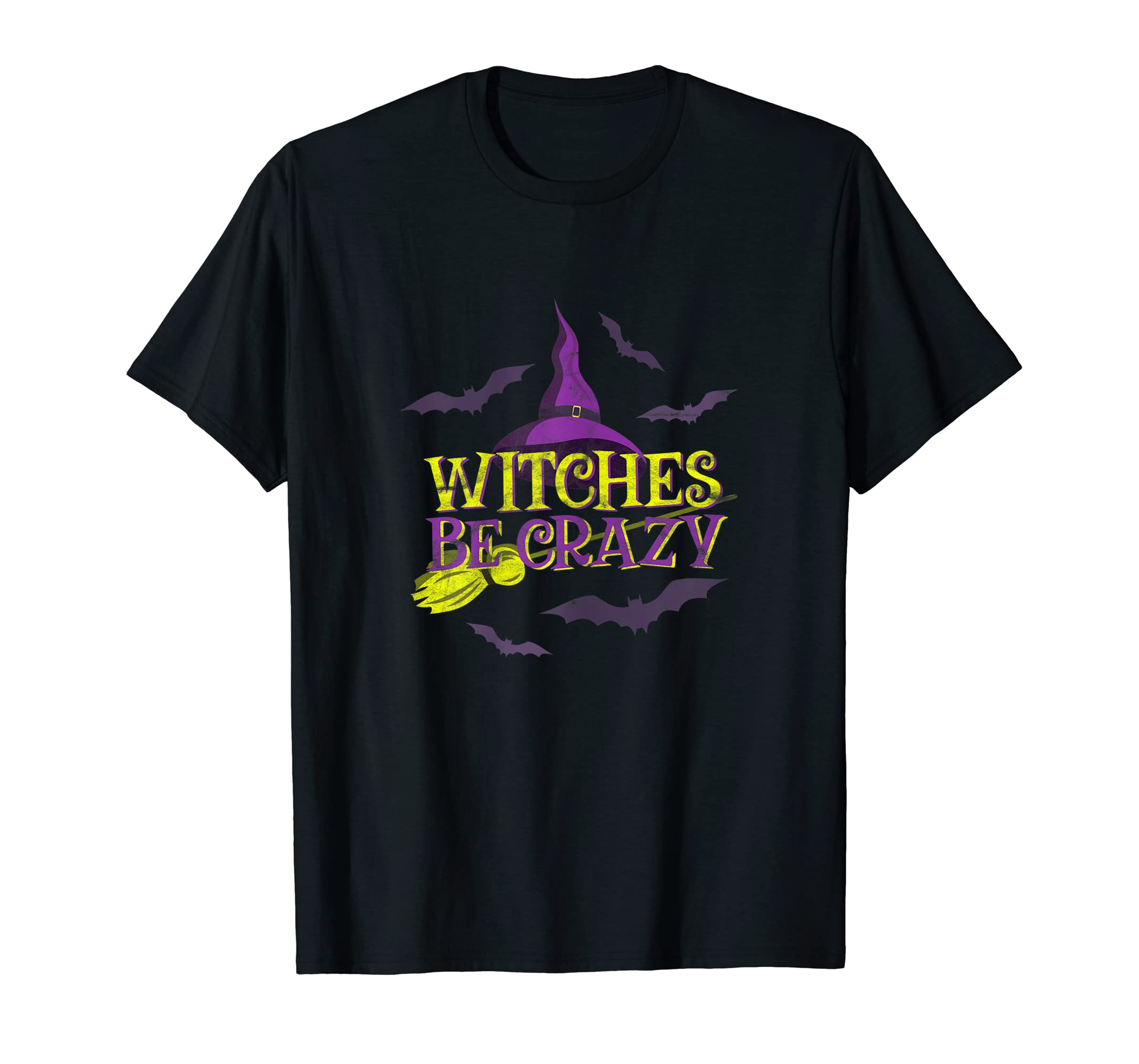 Womens Witches Be Crazy - Funny Halloween Broom Stick Costume Witch T-Shirt-Men's T-Shirt-Black