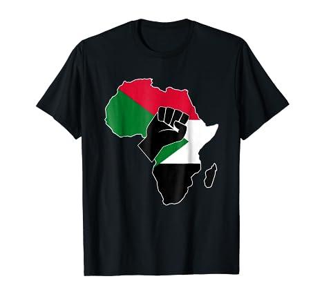 Amazon.com: Sudanese pride Sudan flag Africa map raised fist t-shirt ...