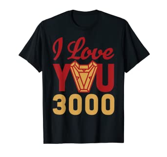 a2b65bf3 Image Unavailable. Image not available for. Color: Avengers Endgame Iron Man  I Love You 3000 Red Yellow Logo T-Shirt