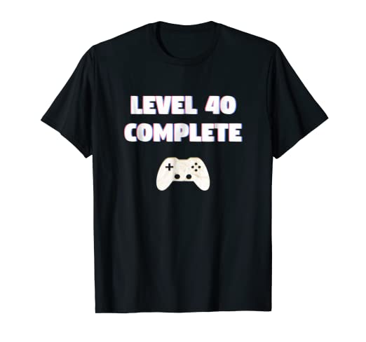 Amazon Effect Gamer LEVEL 40 COMPLETE T Shirt 40th Birthday