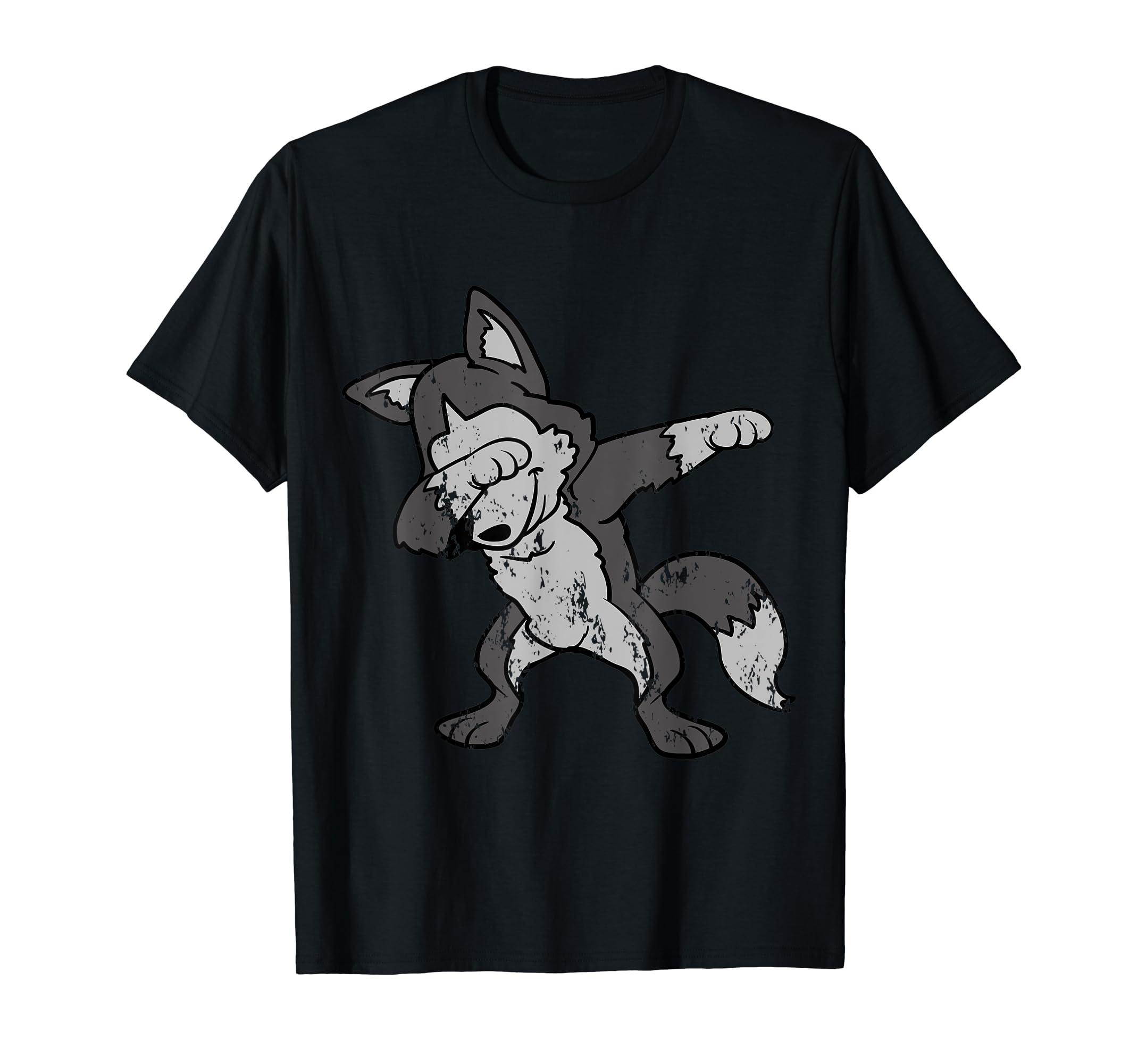 Retro Vintage Grunge Dabbing Dab Wolf Husky T-Shirt-Men's T-Shirt-Black