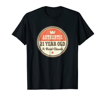 bfc711aa Image Unavailable. Image not available for. Color: 21st Birthday Shirts  Vintage 21 Year Old Tee Gift