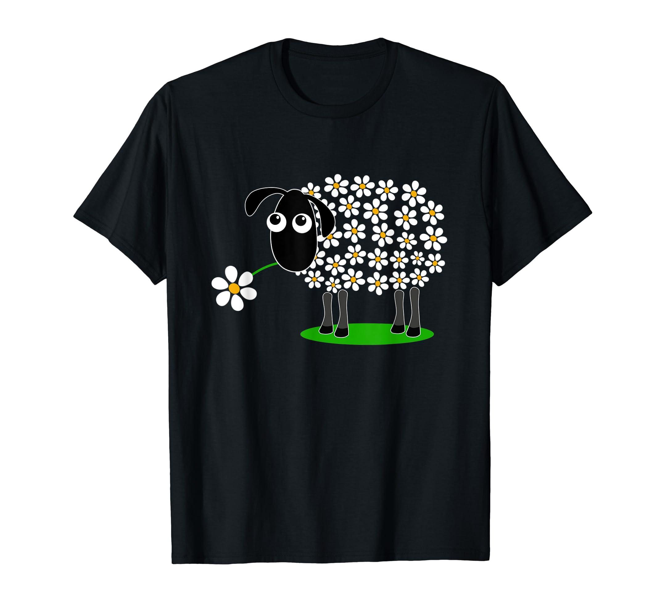 Cute sheep with flower wool T-Shirt gift for girls women Tee T-Shirt-Men's T-Shirt-Black