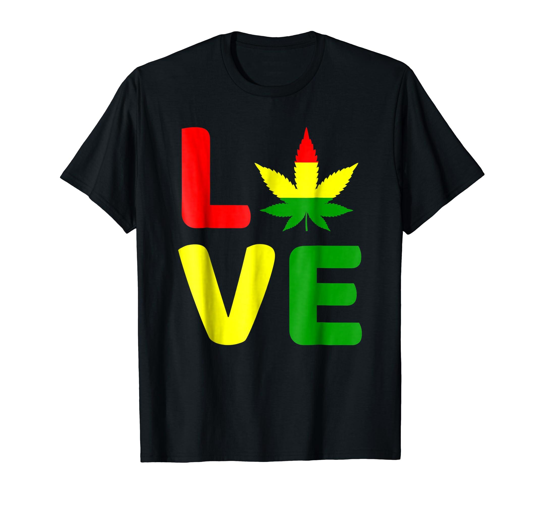 Amazon com love pot leaf rasta 420 weed smoking reggae marijuana tee clothing