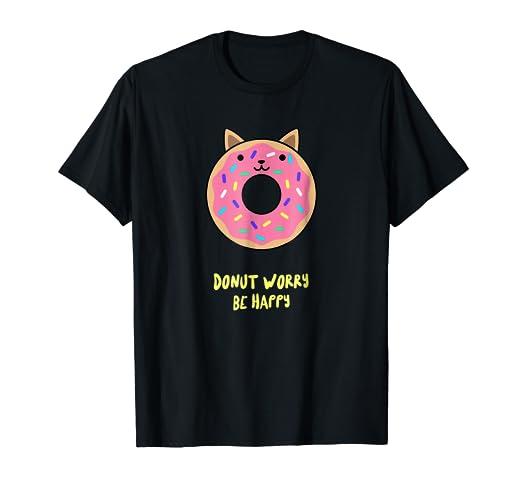 6542be8a508 Amazon.com  Kawaii Japanese Anime Pink Sprinkle Cat Donut T-Shirt ...