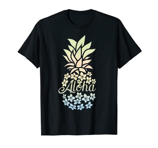 d5d422a5 Image Unavailable. Image not available for. Color: Pineapple Flowers Shirt  Women Aloha Hawaii Vintage Hawaiian