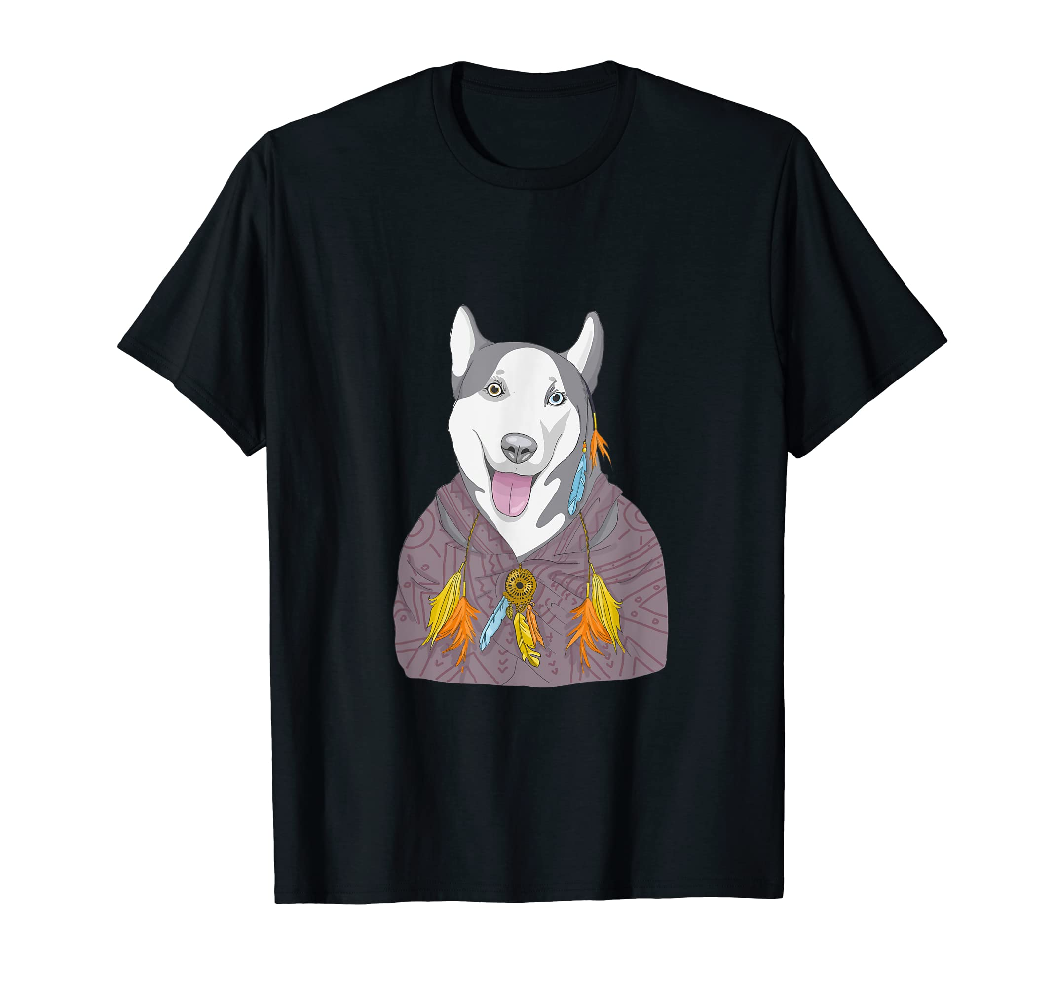Siberian Husky Vintage Shirt Women Men Kids Dog Mom Wolf Tee-Men's T-Shirt-Black