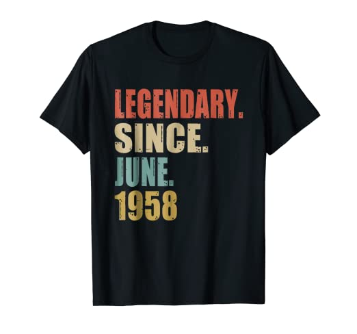 60th Birthday Gifts Retro Legendary Since June 1958 Shirt