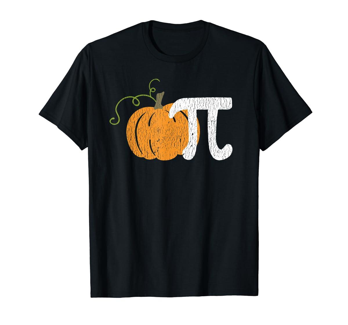 Funny Pumpkin Pie Math Teacher Halloween Pi Humor T-Shirt-Men's T-Shirt-Black