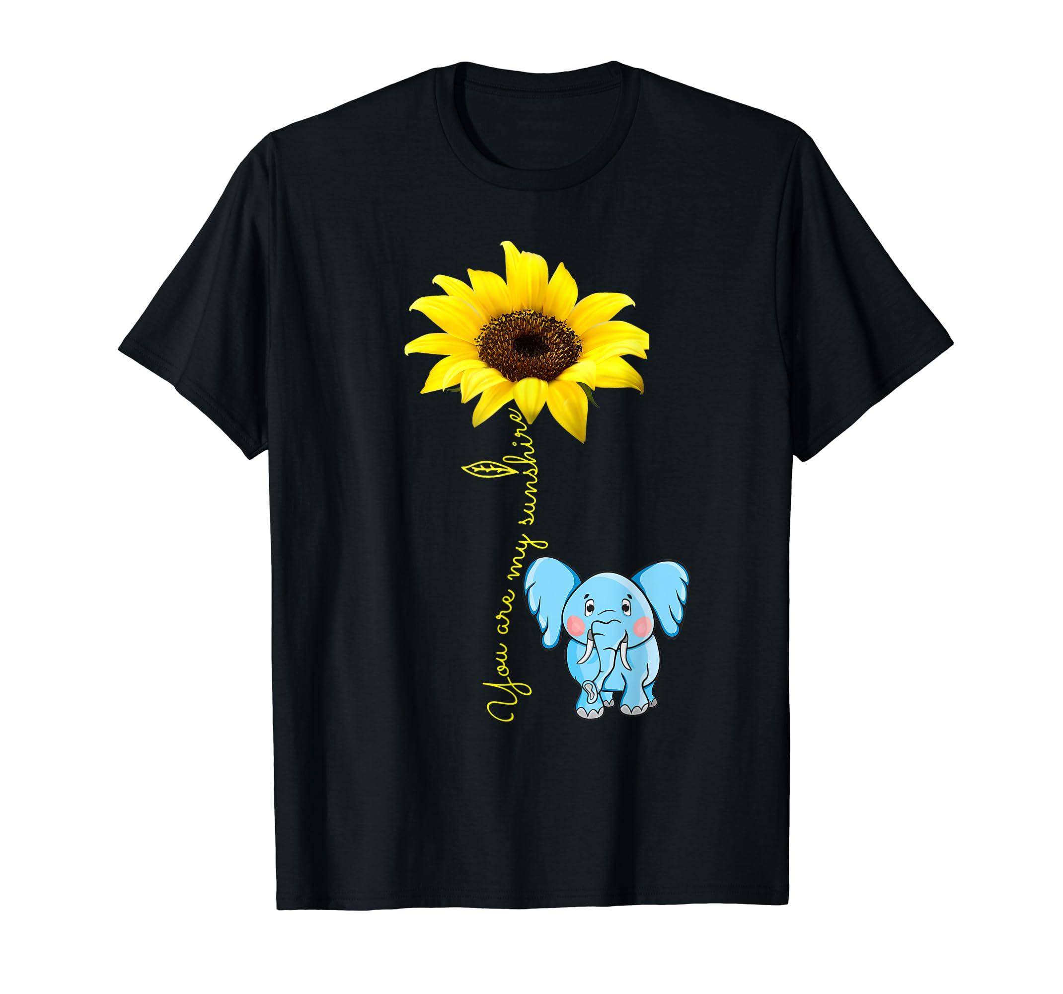 You Are My Sunshine Sunflower Elephant Lover Mom shirt-Men's T-Shirt-Black