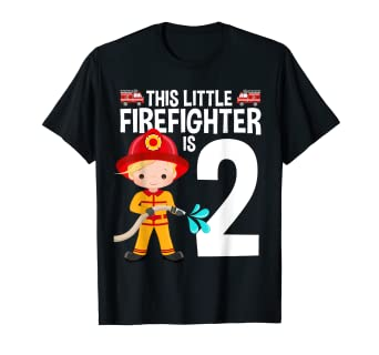 Amazon Little Firefighter 2nd Birthday Fire Truck Theme Tee 2