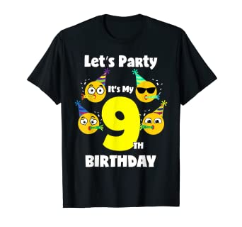 Image Unavailable Not Available For Color Emoji Birthday Shirt 9 Year Old Girl Boy Toddler Cute
