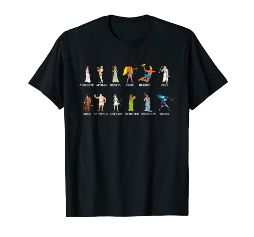 b765c300 Image Unavailable. Image not available for. Color: Greek Gods T-shirt Greek  Mythology Infographic Tshirt