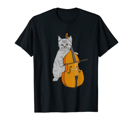 e4bbd826 Image Unavailable. Image not available for. Color: Funny Cat Cello T Shirt  Cute Orchestra Kitten Violin Fiddle