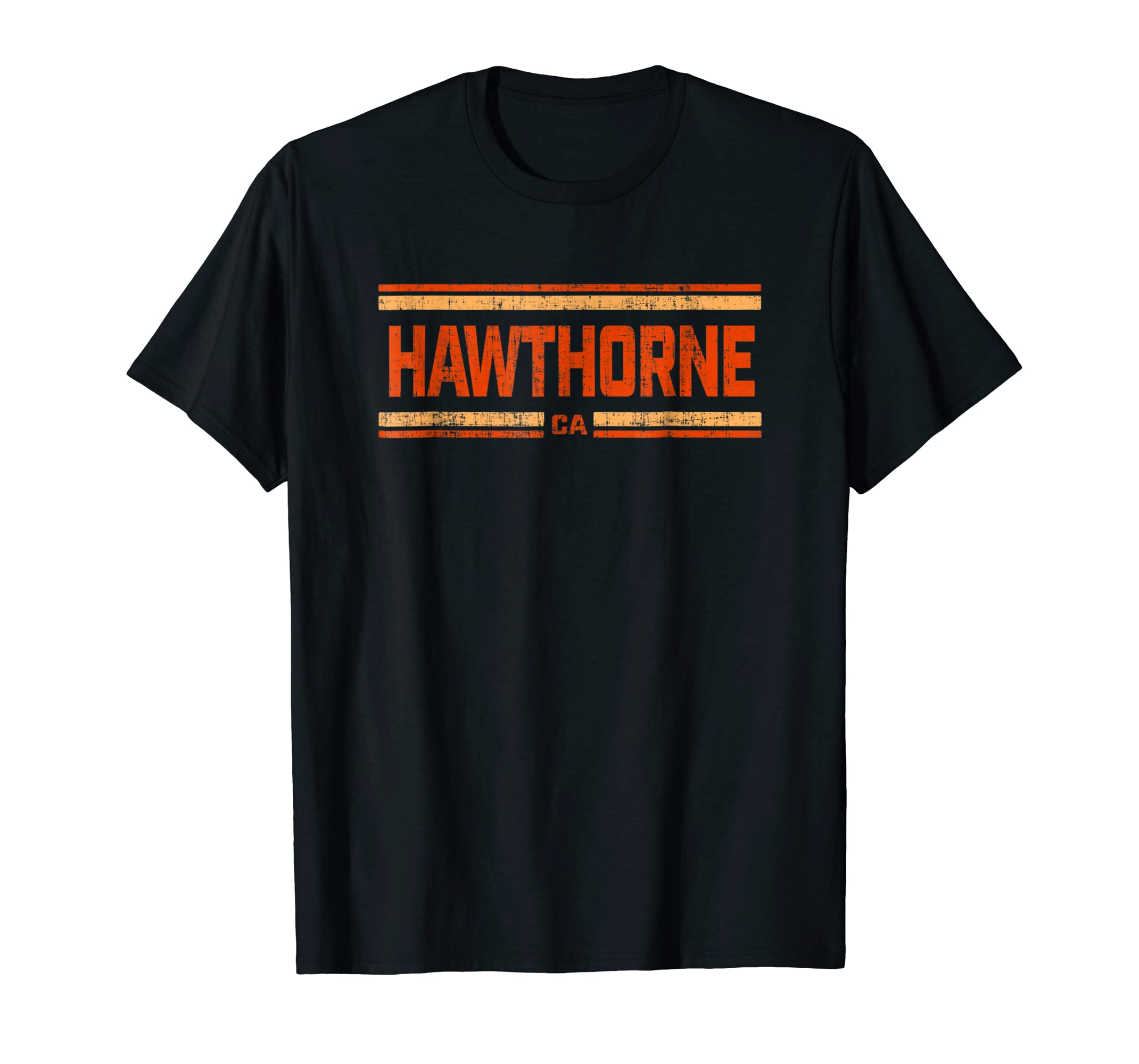 Retro Vintage Hawthorne CA Distressed T-Shirt-Men's T-Shirt-Black
