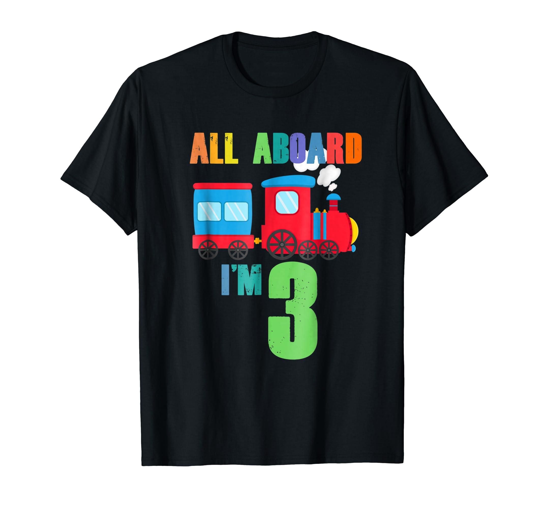 Amazon All Aboard 3rd Birthday Train 3 Year Old Shirt Boy Clothing