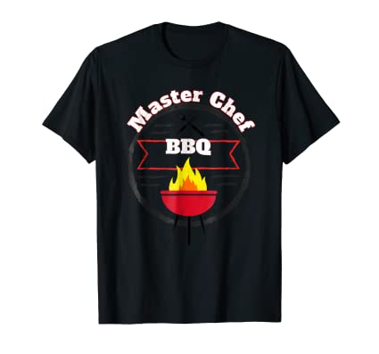Master Chef BBQ gra[hic Tee Shirt with tools and grill fire