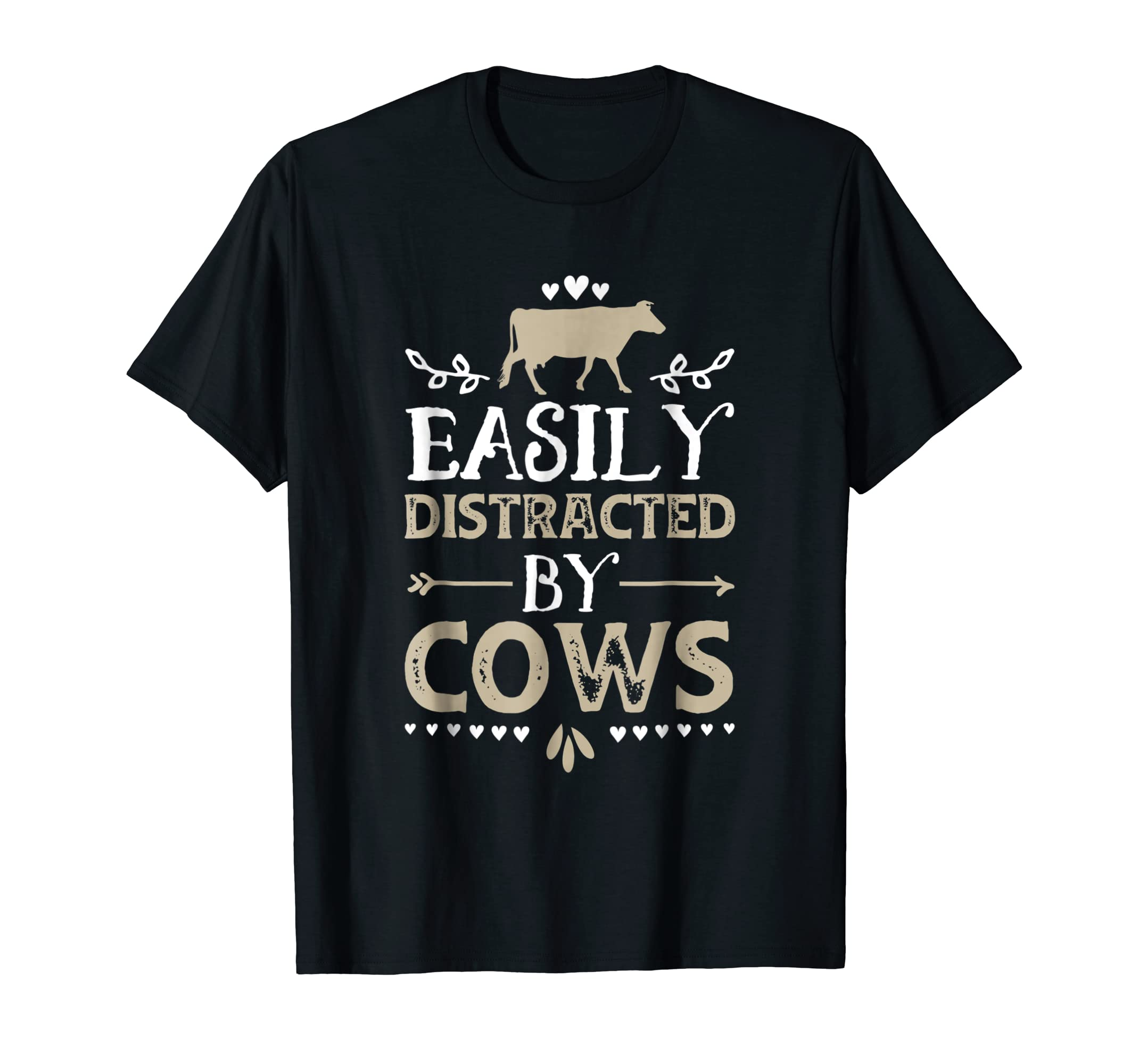 Easily Distracted By Cows Funny Cow Lover Gifts Shirt-Men's T-Shirt-Black