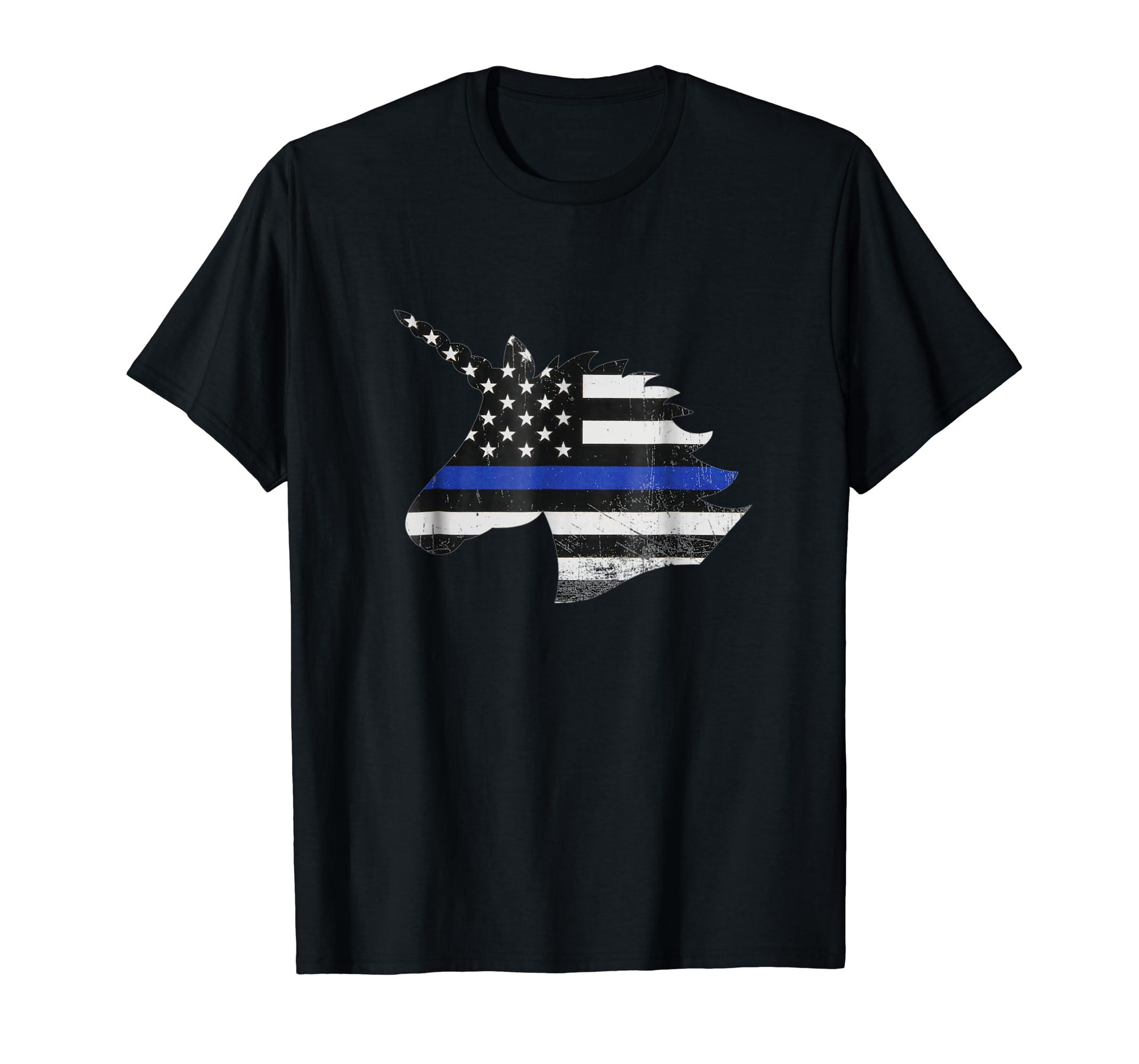 UNICORN THIN BLUE LINE FLAG SHIRT-alottee gift