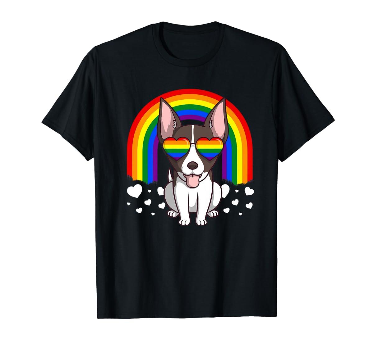 LGBT Rat Terrier Dog Gay Pride Rainbow LGBTQ Cute Gift Premium T-Shirt-Men's T-Shirt-Black